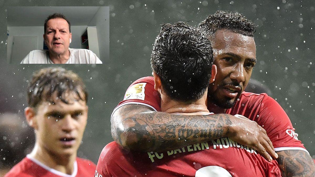 BR-Reporter Taufig Khalil ,jubelnde FC-Bayern-Spieler,