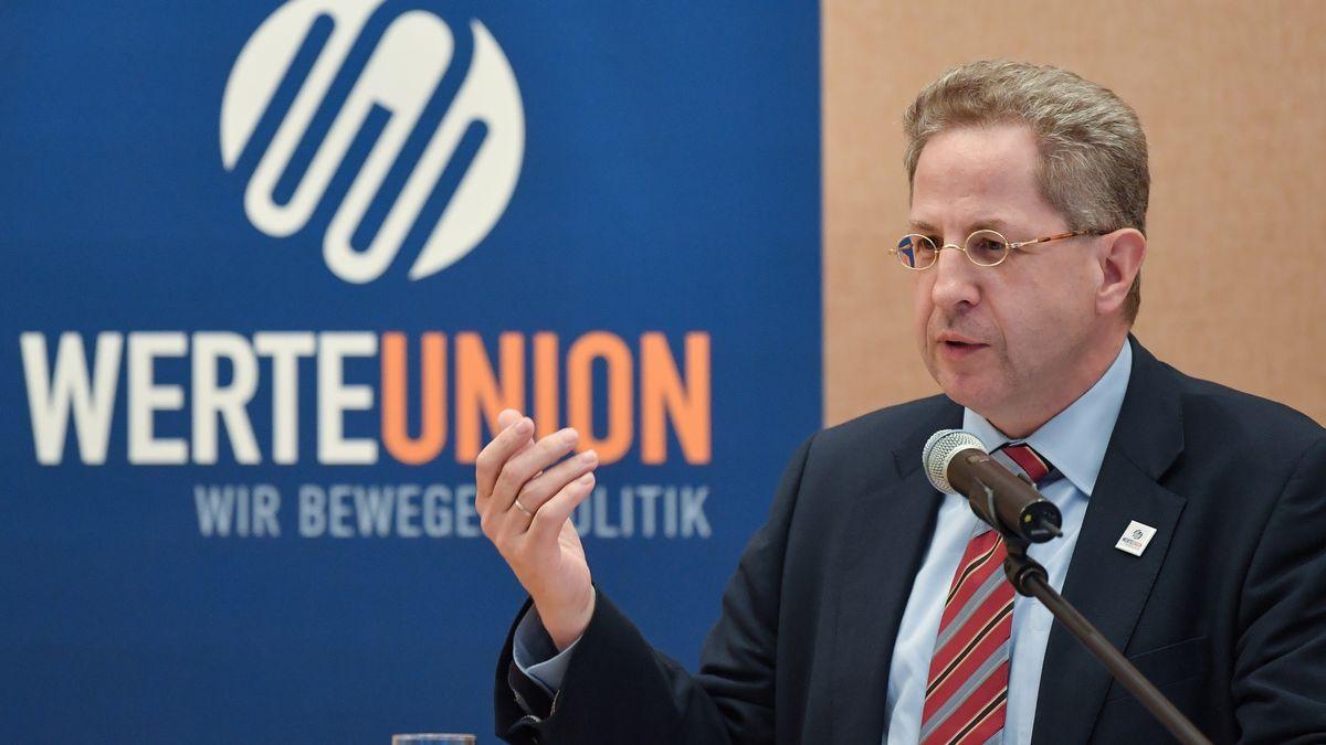 Hans-Georg Maaßen (CDU), ehemaliger Leiter des Bundesverfassungsschutzes, spricht über die Werteunion auf einem Wahlkampftermin der CDU auf Einladung der CDU-Fraktion Hoppegarten. I