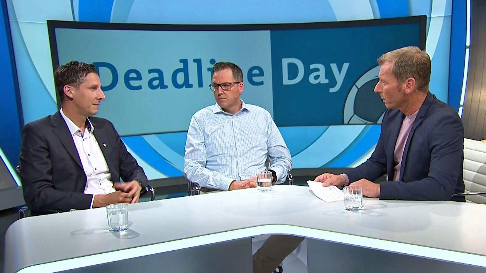 Christian Keller (Geschäftsführer Jahn Regensburg), Gregor Reiter (Geschäftsführer Deutsche Fußballspieler-Vermittler-Vereinigung) und Moderator Markus Othmer (v.l.)