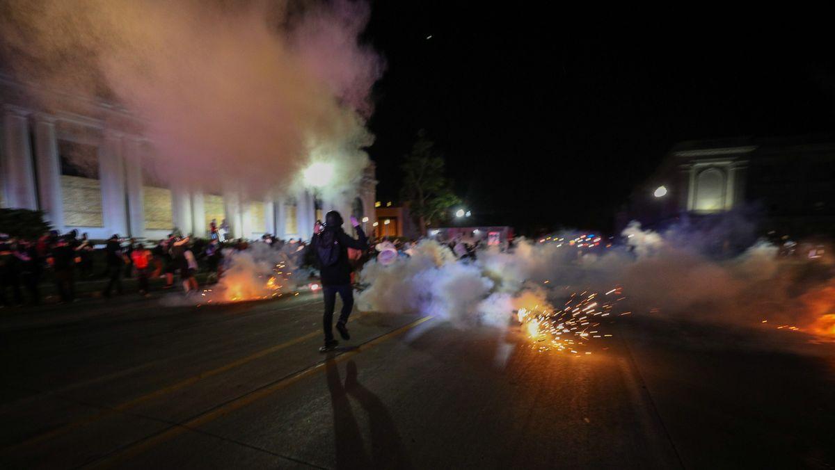 Proteste gegen Polizeigewalt in der Stadt Kenosha im US-Bundesstaat Wisconsin