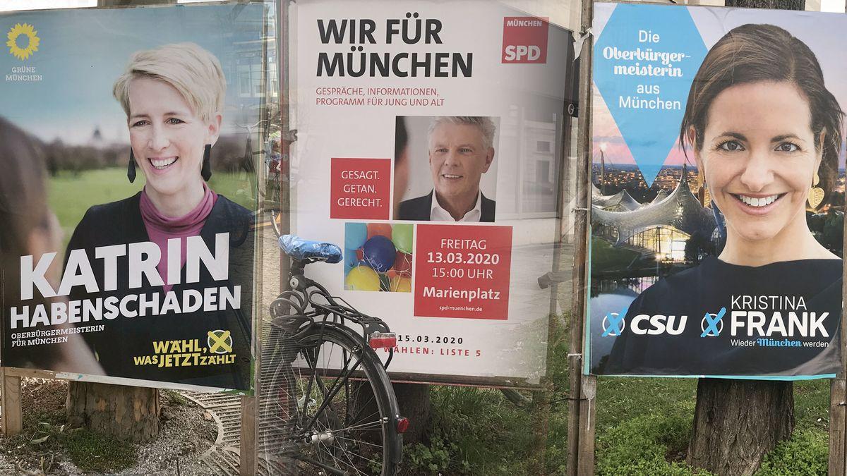 Fotomontage: OB Wahl in München 2020 - Wahlplakate der Bewerber