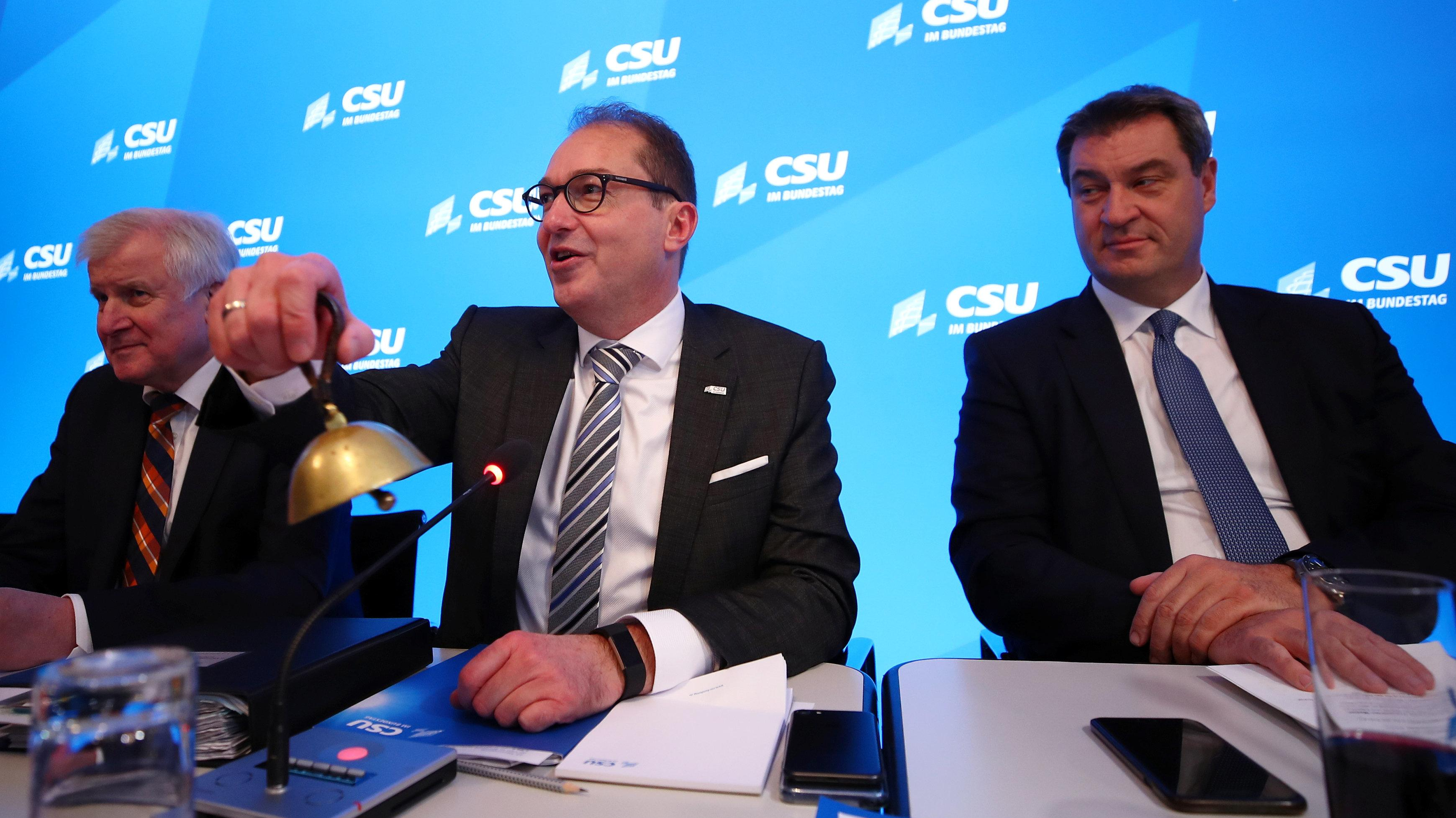 Horst Seehofer, Alexander Dobrindt und Markus Söder (alle CSU) in Seeon