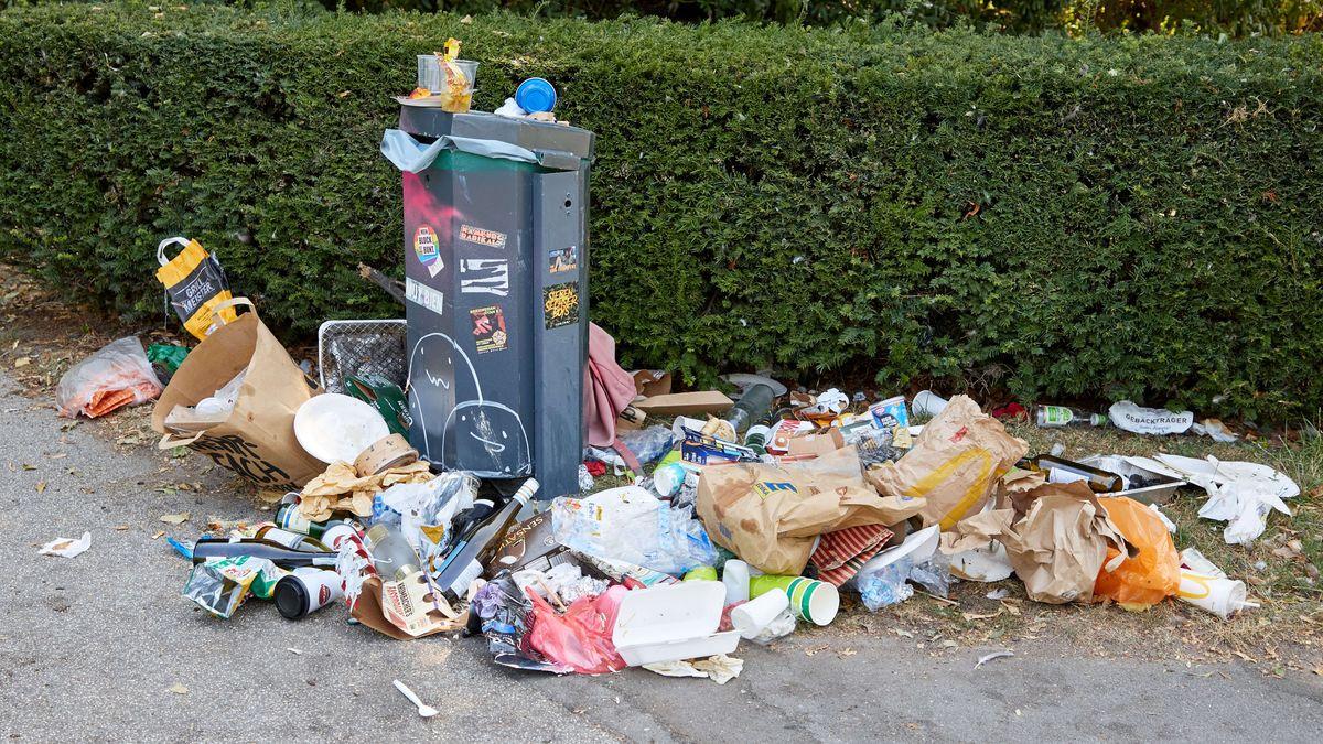 Eine öffentliche Mülltonne quillt über mit Müll. Daneben liegt achtlos hingeworfener Müll.