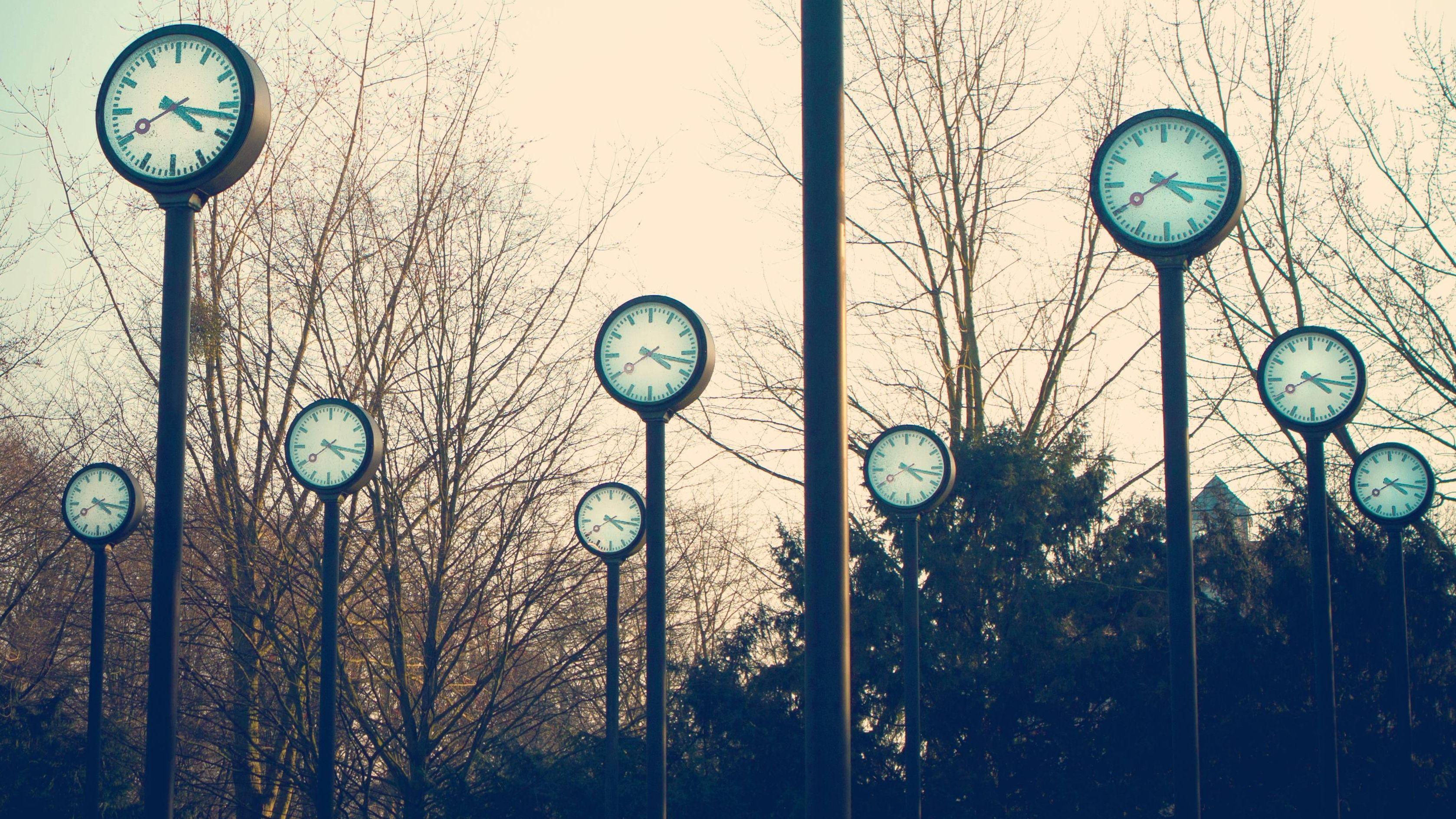 Bahnhofsuhren in einem Uhrenpark vor winterlichen Bäumen
