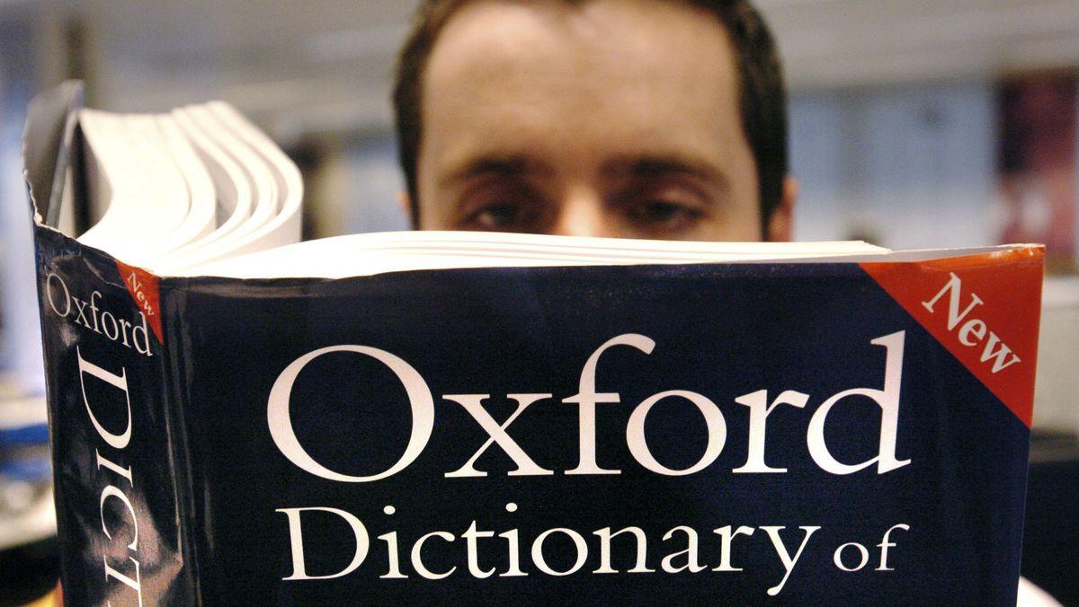 Leser greift zum Oxford Dictionary.