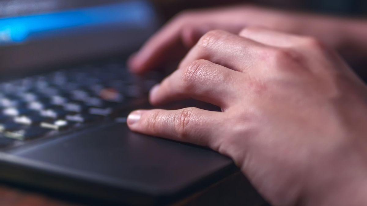 Hände beim Tippen und Arbeiten am Laptop.