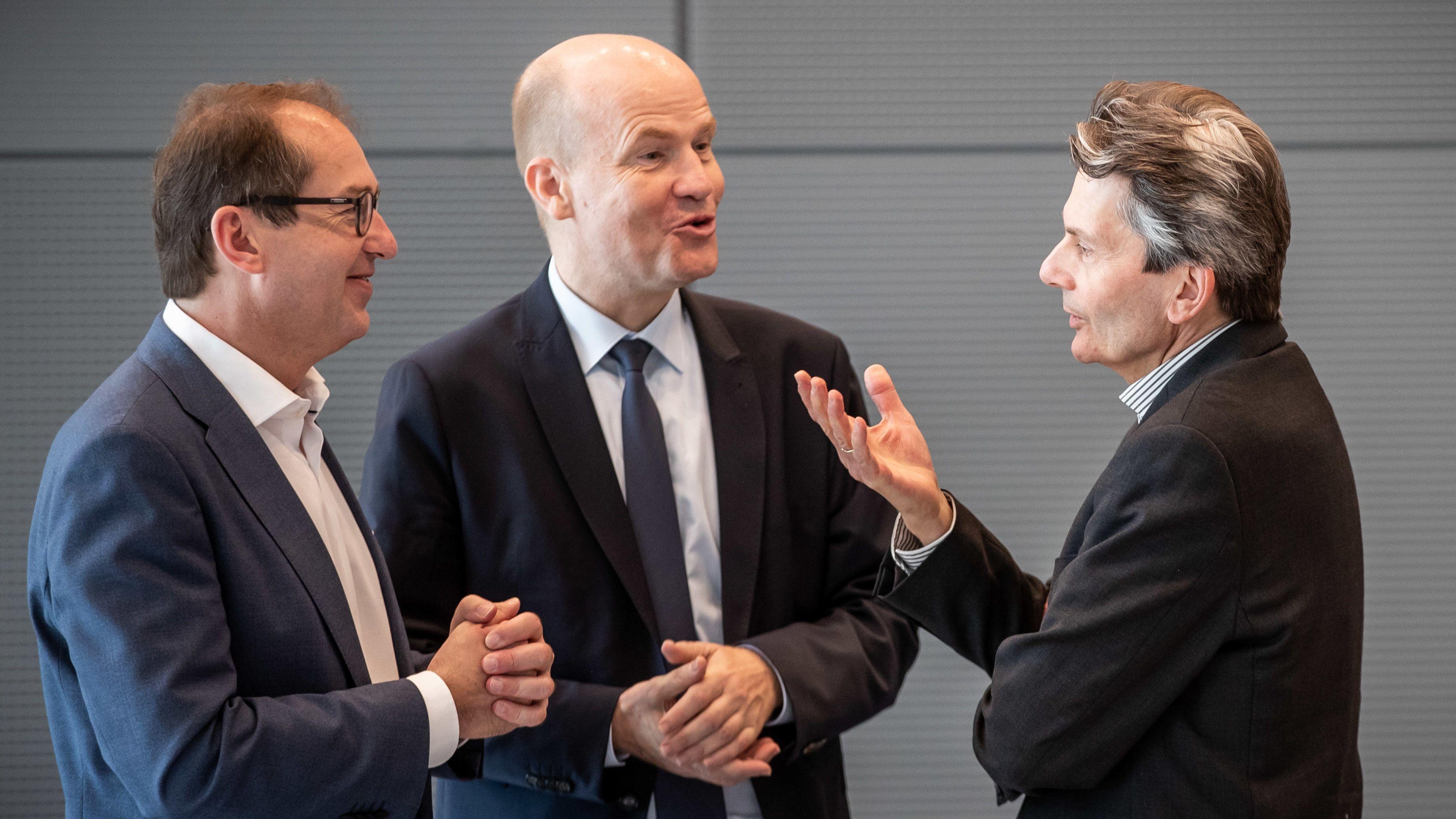 Alexander Dobrindt (l.), Ralph Brinkhaus und Rolf Mützenich