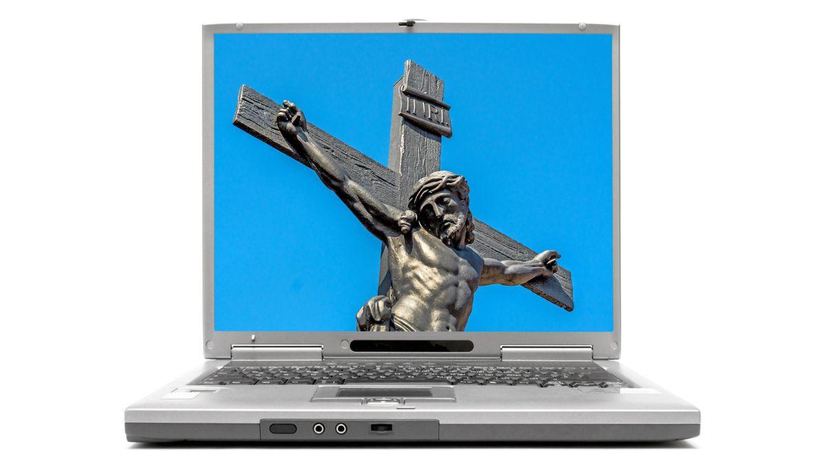 Kreuz auf Bildschrim
