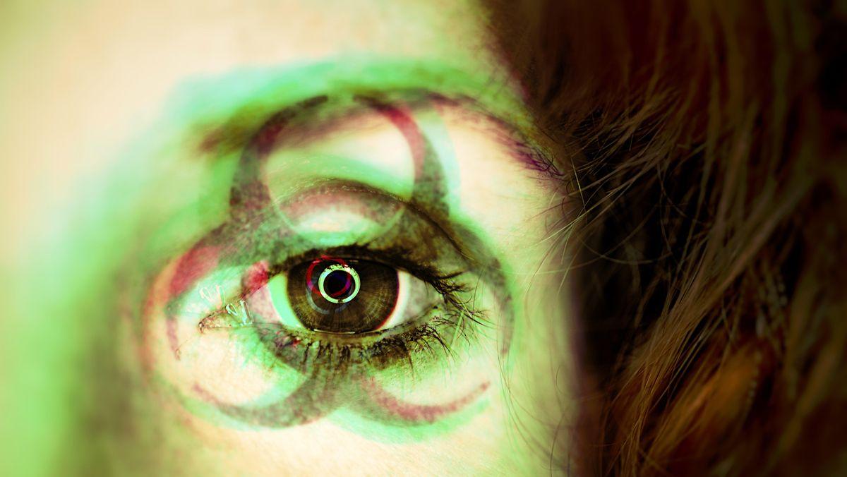 Corona Virus / Symbol auf Auge