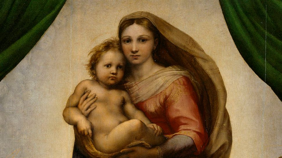 Maria mit dem Jesusknaben im Arm, Detail der Sixtinischen Madonna