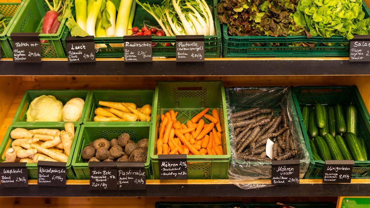 Frisches Gemüse im Einzelhandel