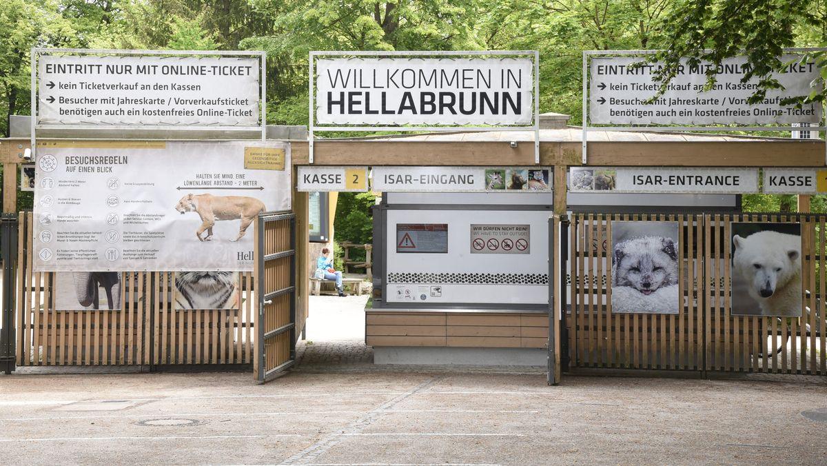 Eingang Tierpark Hellabrunn mit Corona- Besucherregeln