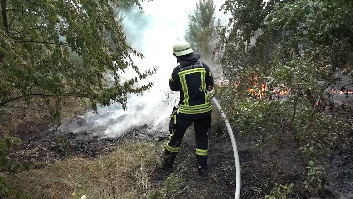 Feuerwehrmann löscht brennendes Waldstück in Aschaffenburg-Obernau.