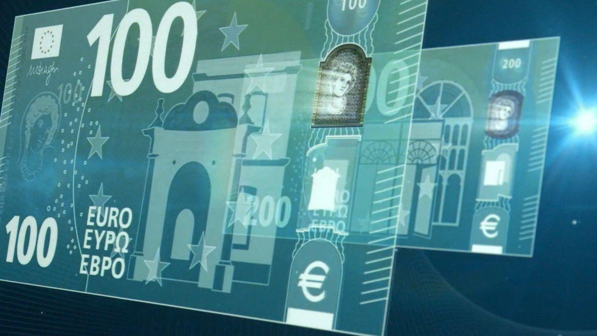 Die künstlerisch interpretierte Variante eines digitalen 100 Euro-Scheins.