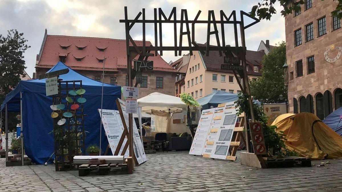 Das Klimacamp von Fridays For Future in der Nürnberger Altstadt.