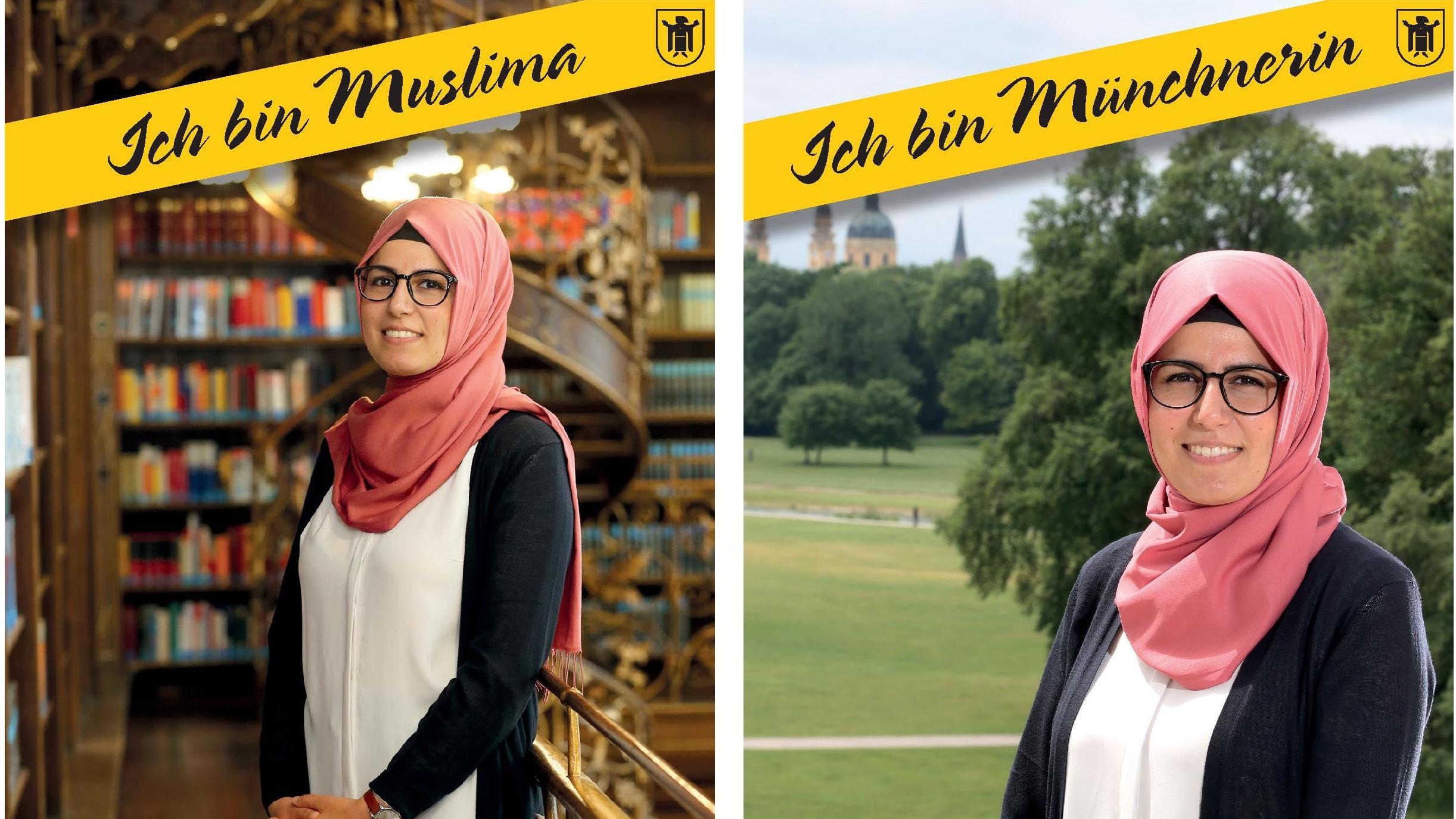 Zwei Fotos nebeneinander zeigen Merve, eine junge Frau mit Kopftuch. Bildüberschrift: Ich bin Muslima - Ich bin Münchnerin