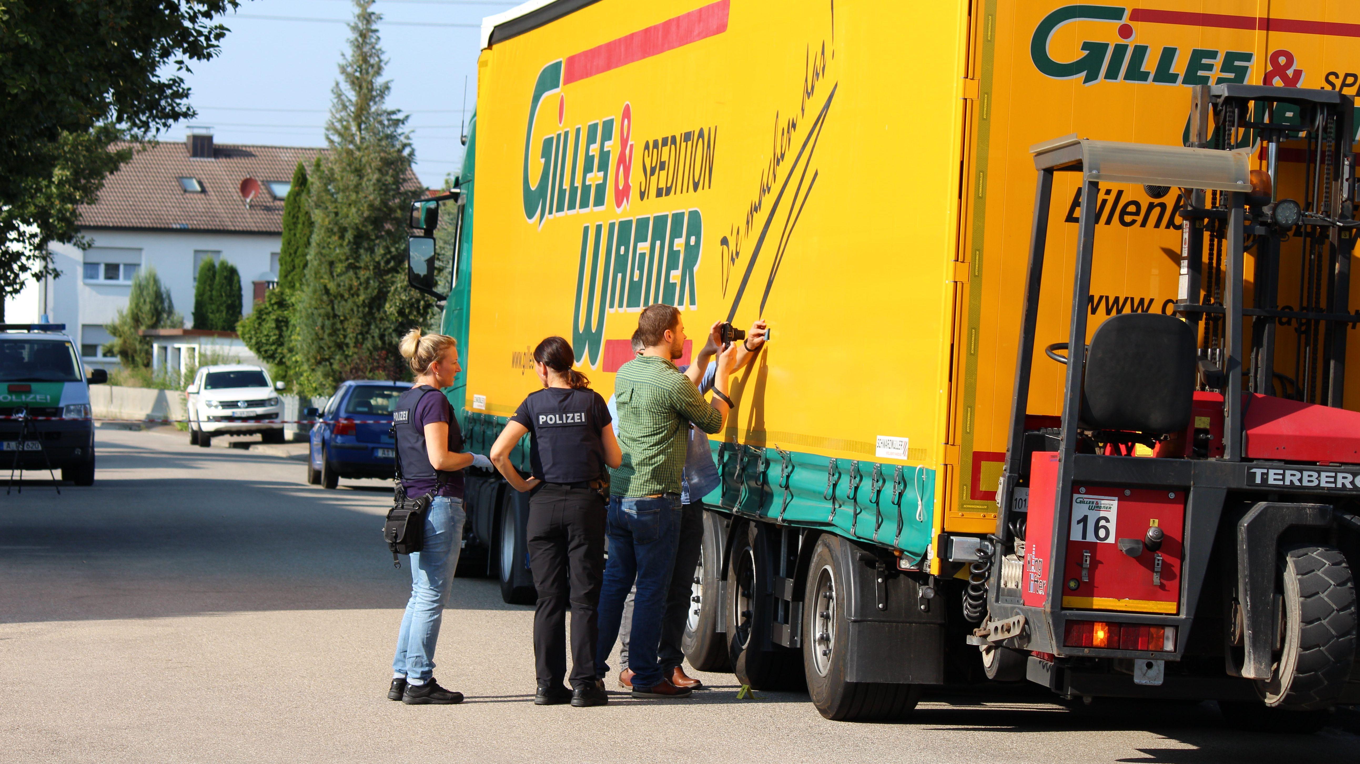 Ermittlungen am Tatort in Nordendorf am Dienstag, den 27.8.2019