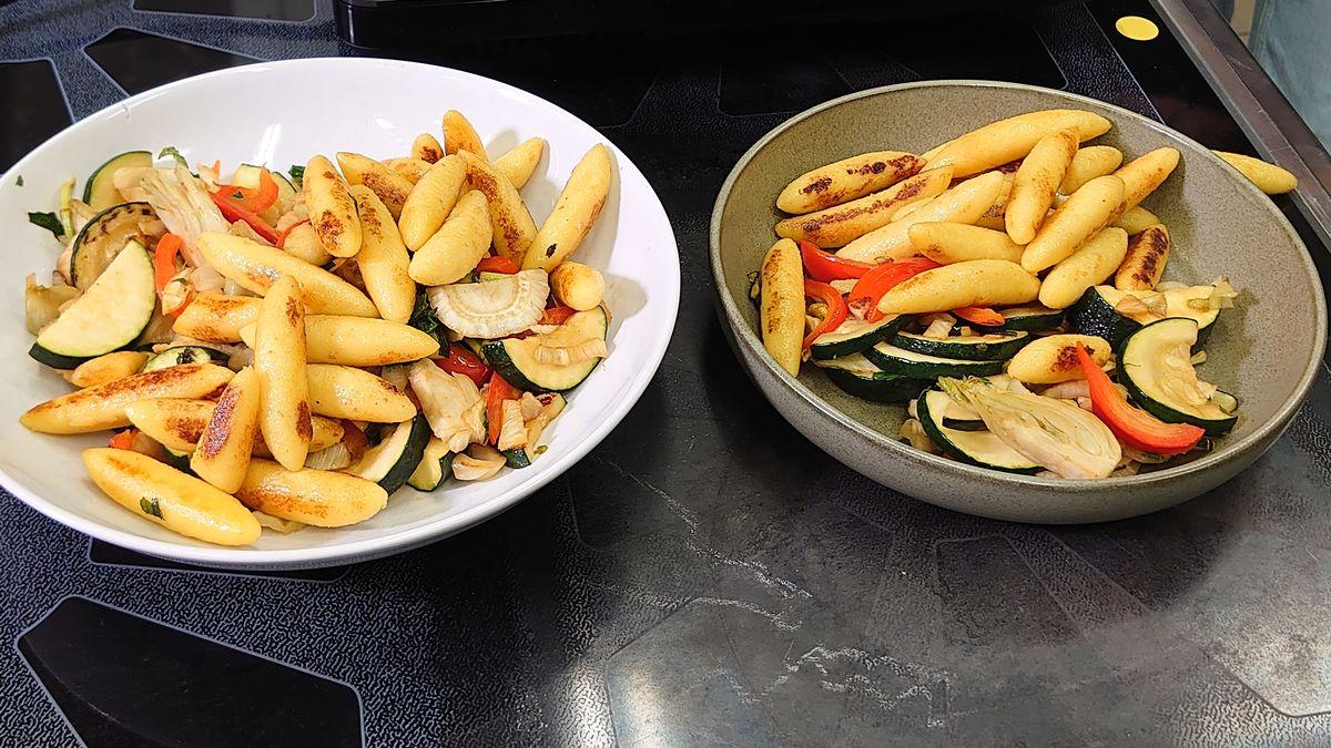 Die Schupfnudel-Gemüse-Pfanne aus geretteten Lebensmitteln.