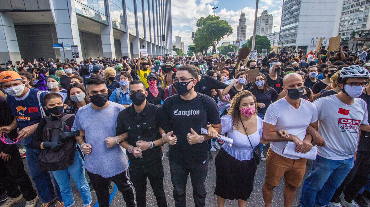 Proteste gegen Bolsonaros Politik am 7. Juni 2020 in Rio de Janeiro.