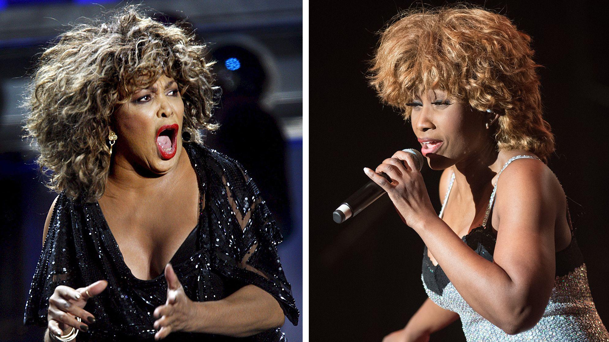 """Links: Tina Turner im Jahr 2009. Rechts: Turner-Darstellerin Coco Fletcher bei der Premiere """"Simply the best"""", 2017"""