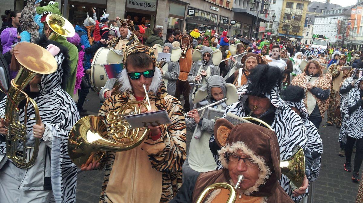 Musiker auf dem Würzburger Faschingsumzug
