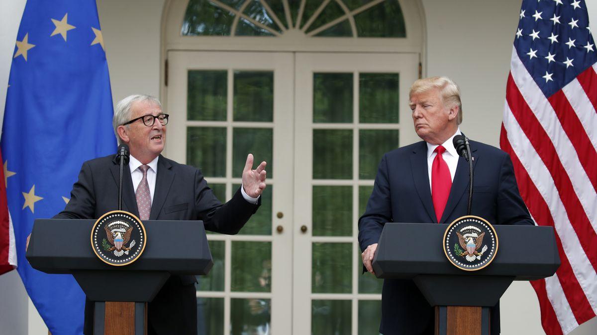 Archivbild (Juli 2018): Jean-Claude Juncker, damaliger EU-Kommissionspräsident, und US-Präsident Donald Trump.