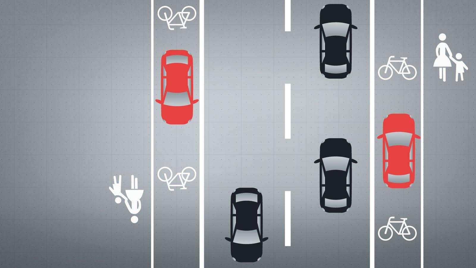Grafik: Parken auf dem Radweg.