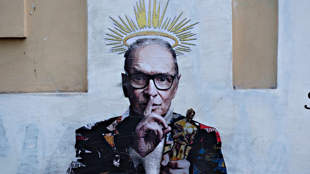 Wandbild zu Ehren Morricones in Rom