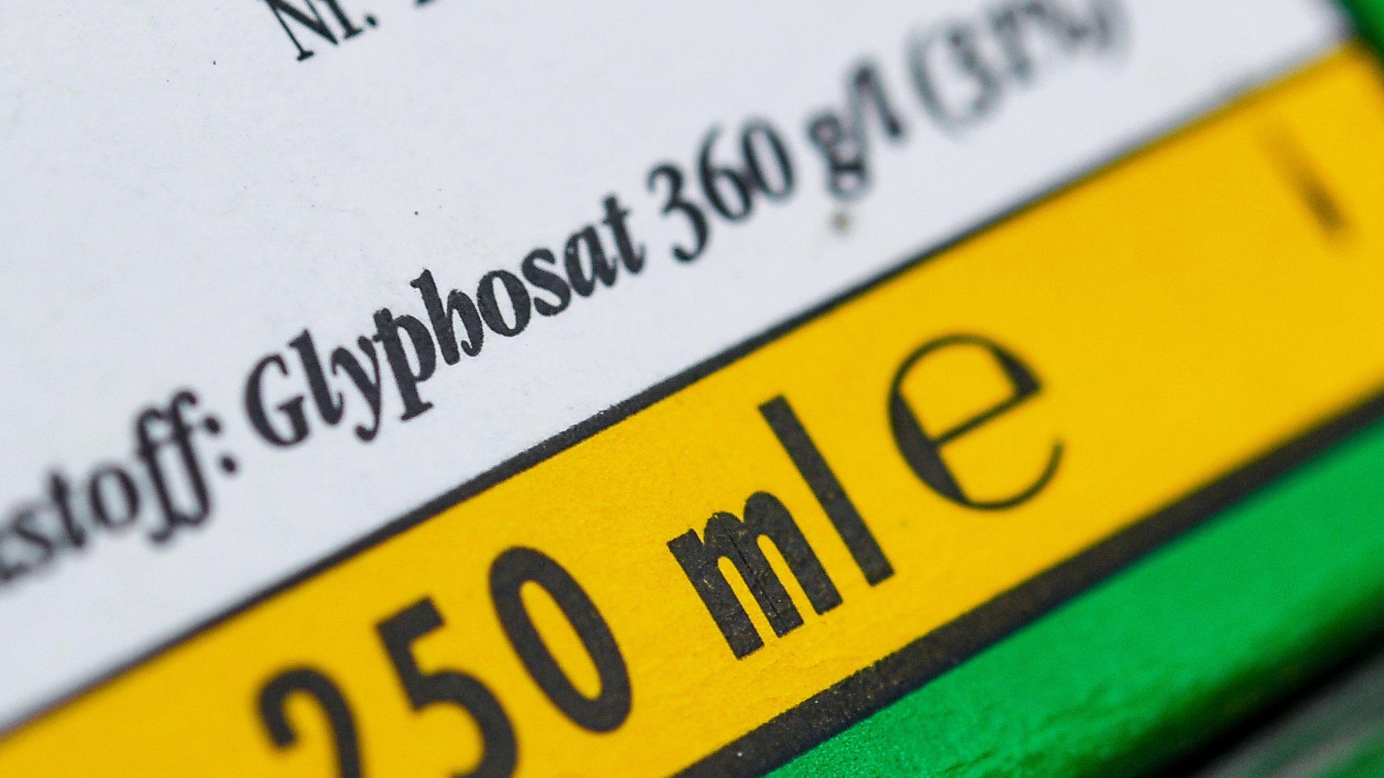 Die Verpackung eines Unkrautvernichtungsmittels, das den Wirkstoff Glyphosat enthält