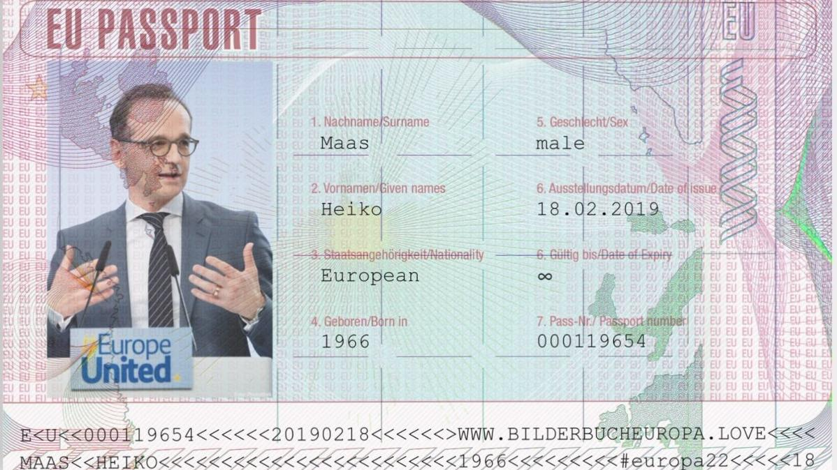 Virtueller EU-Pass von Außenminister Heiko Maas, gepostet auf Twitter