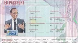 Virtueller EU-Pass von Außenminister Heiko Maas, gepostet auf Twitter | Bild:Twitter / Heiko Maas