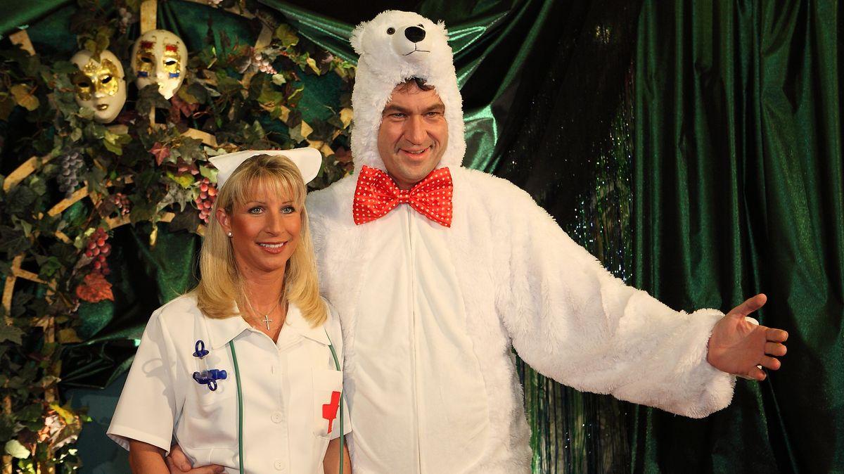 Markus Söder verkleidet als Eisbär