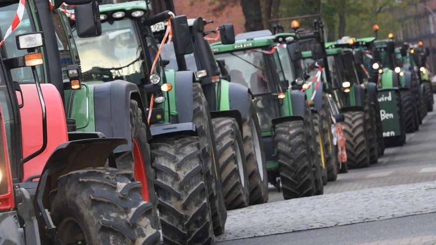 Demonstrierende Landwirte: Eine Traktoren-Kolonne (Symbolbild).