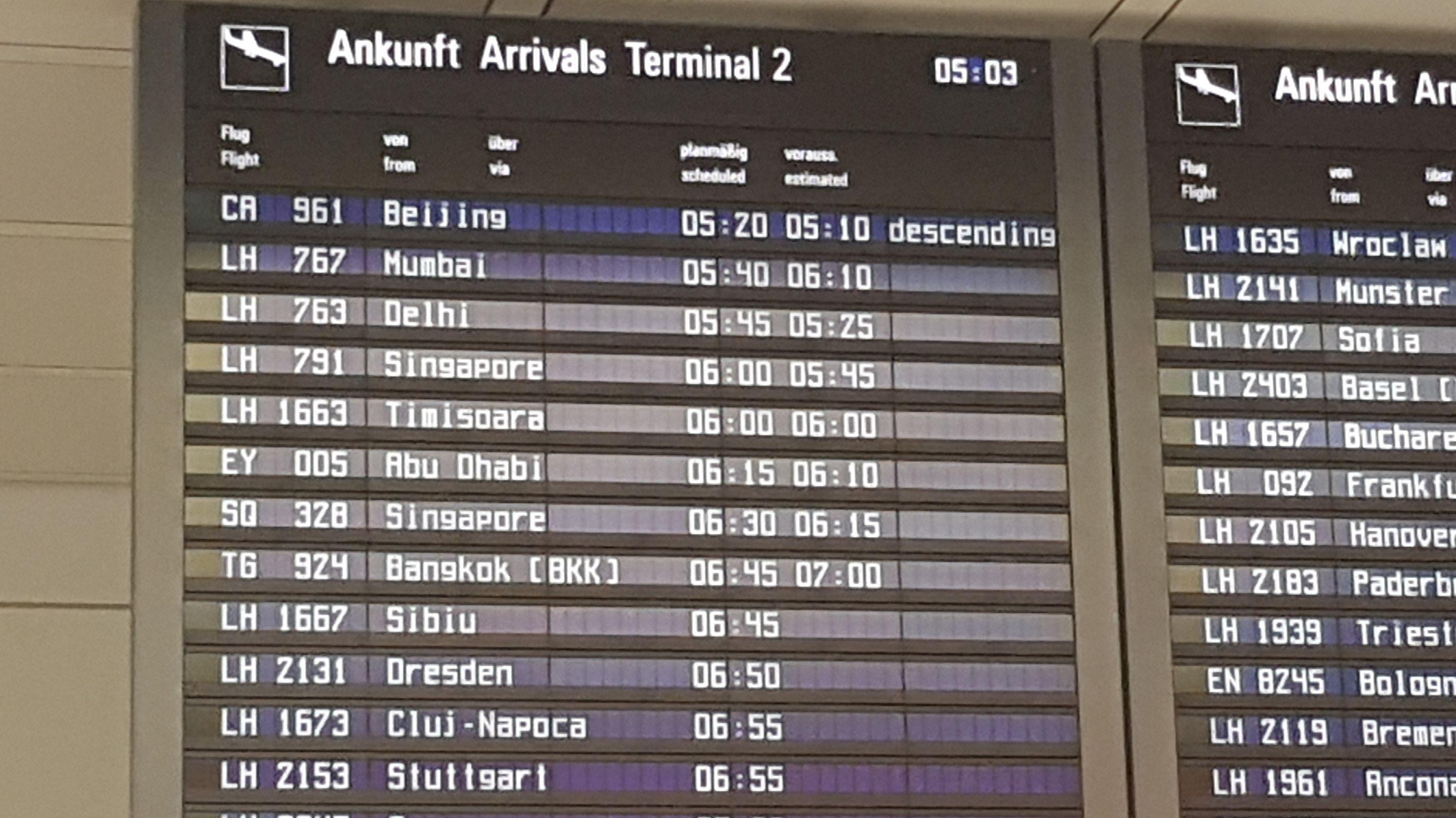 Flughafen München am 29.01.2020: Ankunft eines Flugzeugs aus Peking am Morgen um 5.20 Uhr.