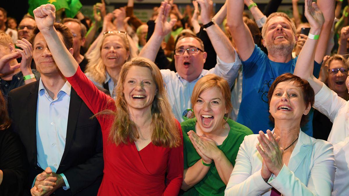 Wahlparty  der Bayern-Grünen mit ihrer Spitzenkandidatin Henrike Hahn