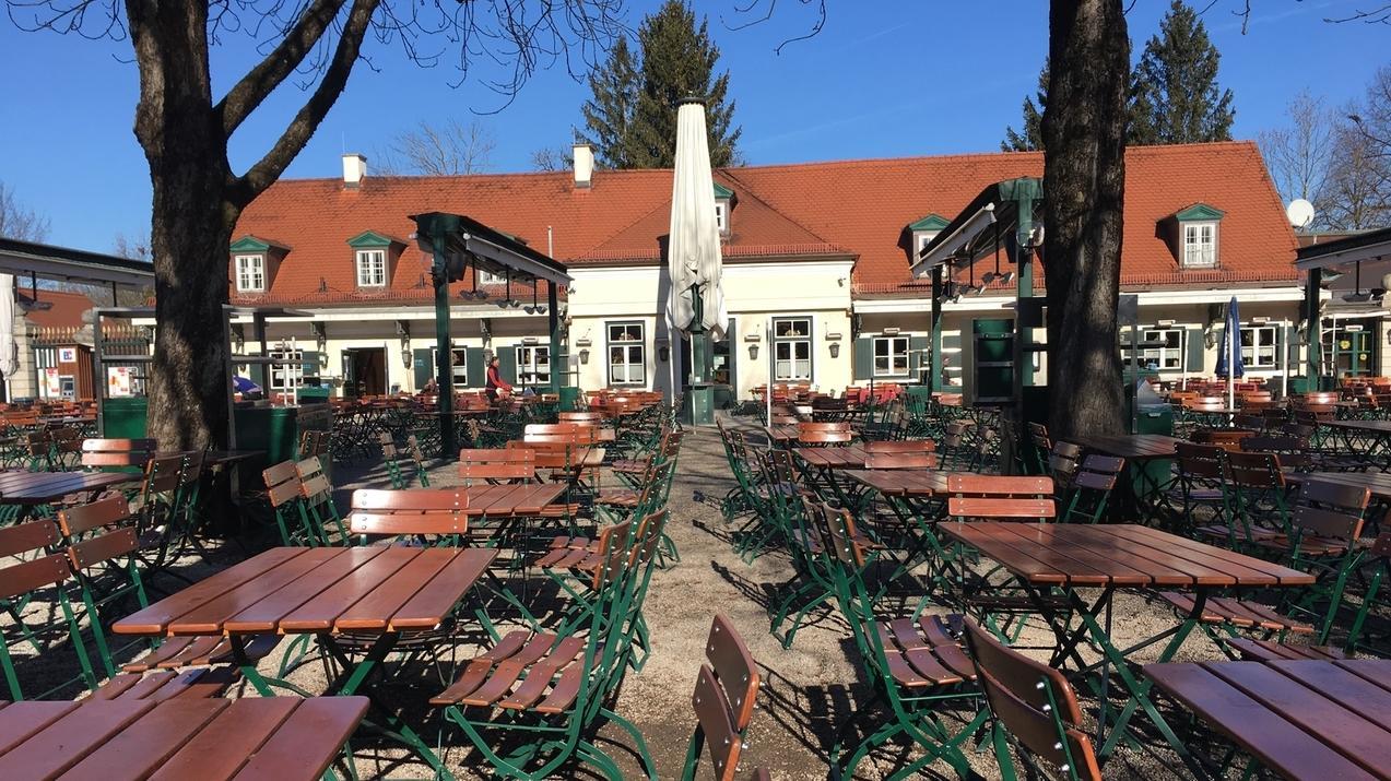 Biergarten Hirschgarten in München.