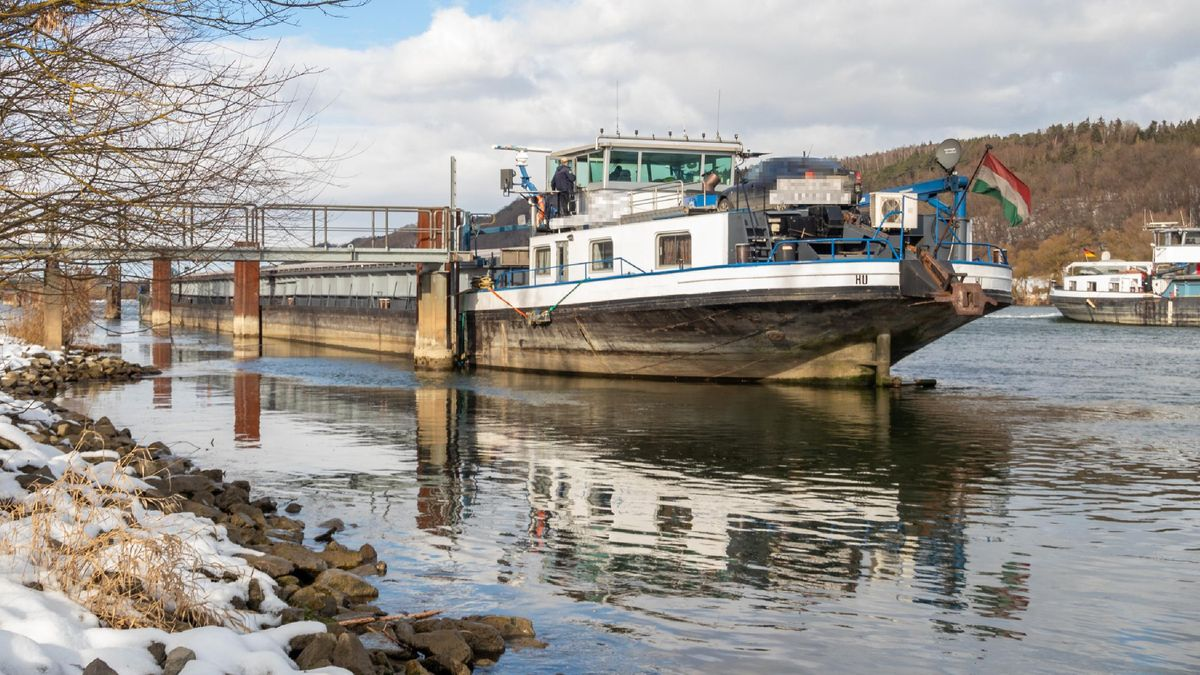 Das Frachtschiff liegt am Donauufer