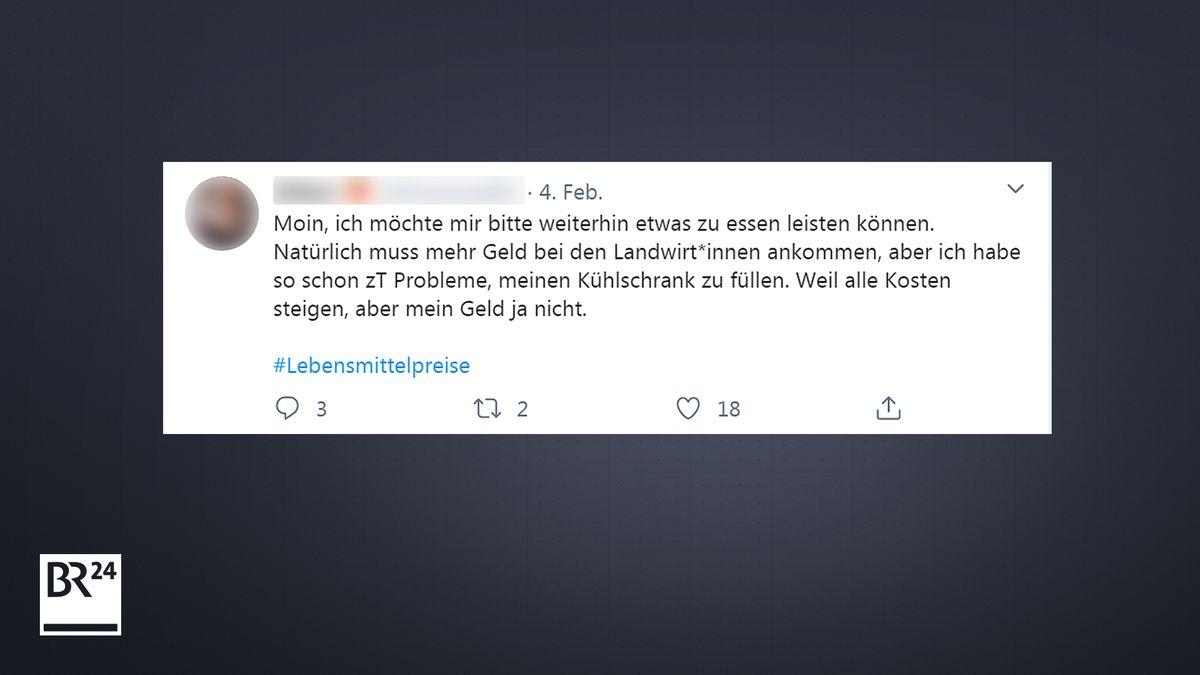 Kommentar einer Userin auf Twitter zur Diskussion um Lebensmittelpreise