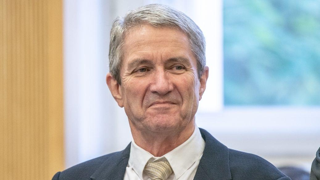 Volker Tretzel, Bauunternehmer, im Verhandlungssaal des Landgerichts Regensburg