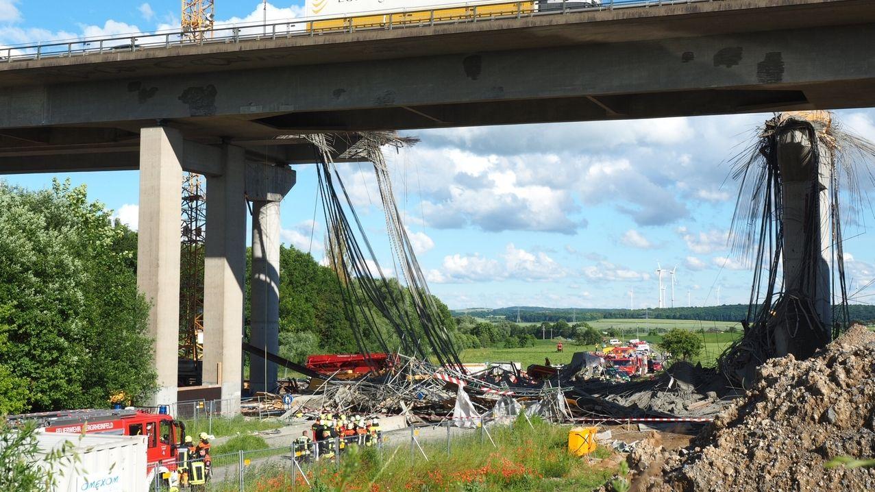 Unfall an der Brückenbaustelle bei Schraudenbach, einem Ortsteil von Werneck