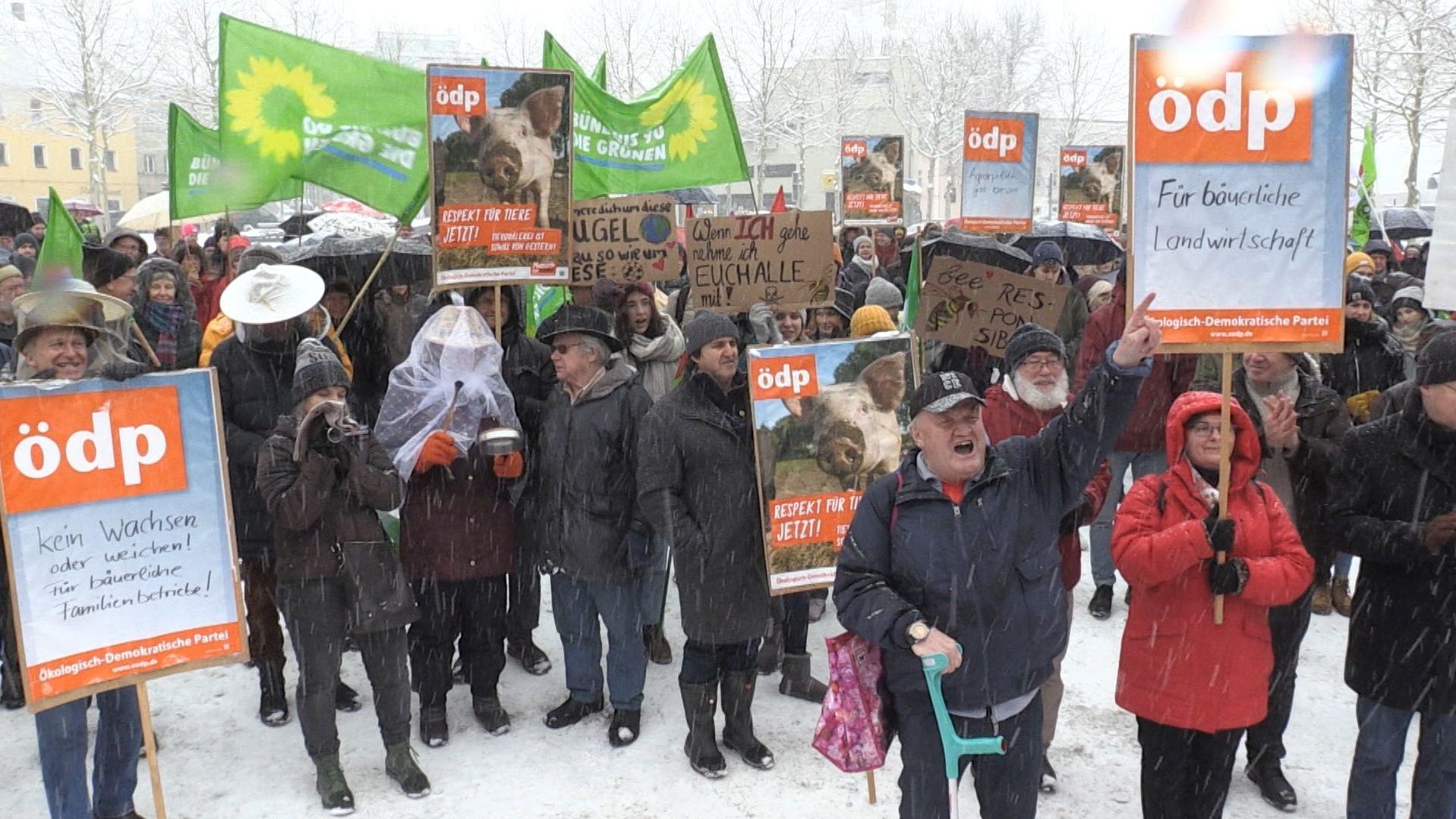 """Teilnehmer der Demonstration """"Wir haben es satt"""" in Passau Ende Januar"""