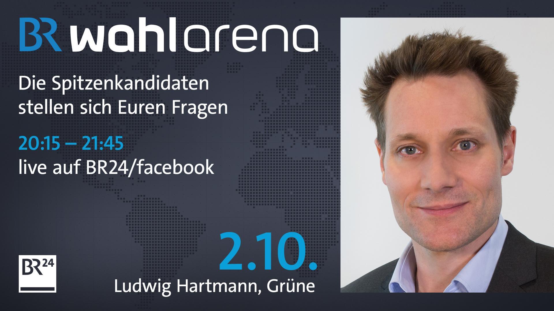 Ludwig Hartmann stellt sich in der ersten von vier BR Wahlarenen den Fragen der Bürger