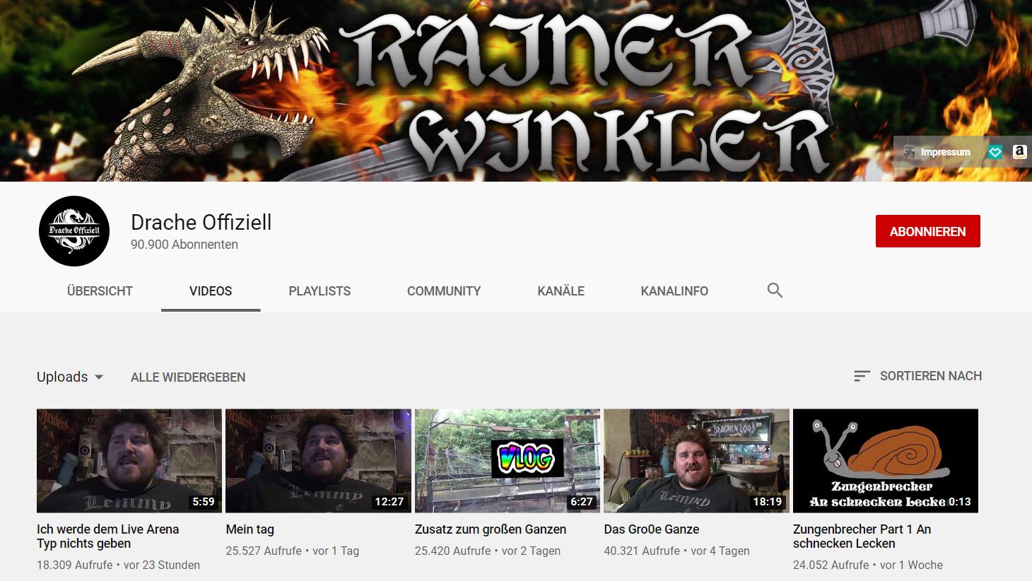 Der Youtube-Kanal von Rainer Winkler alias Drachenlord.