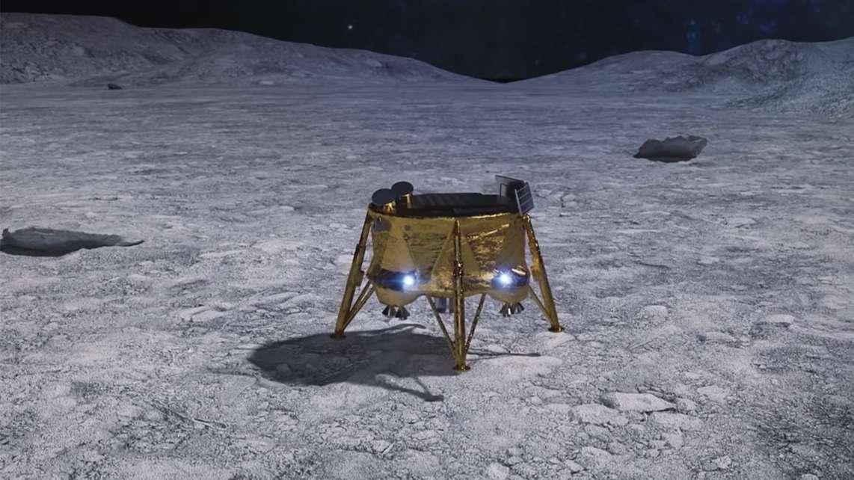 Illustration der israelischen Mondsonde Beresheet auf dem Mond - so hätte es aussehen sollen.