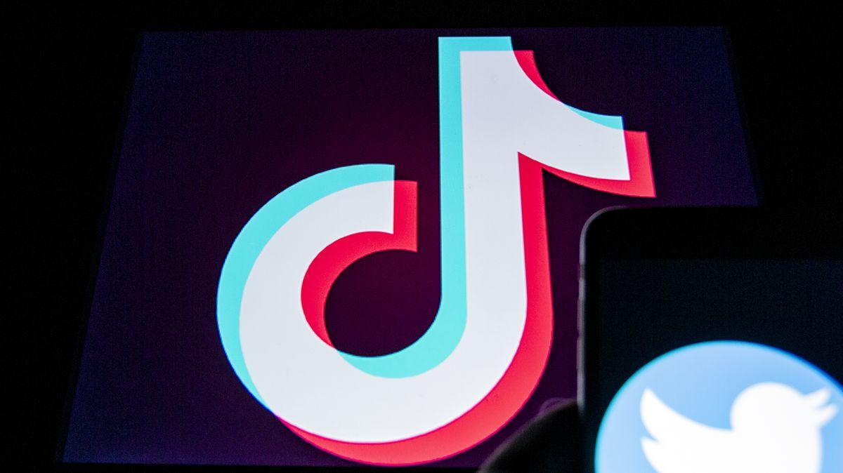 Logo TikTok, rechts klein Logo Twitter