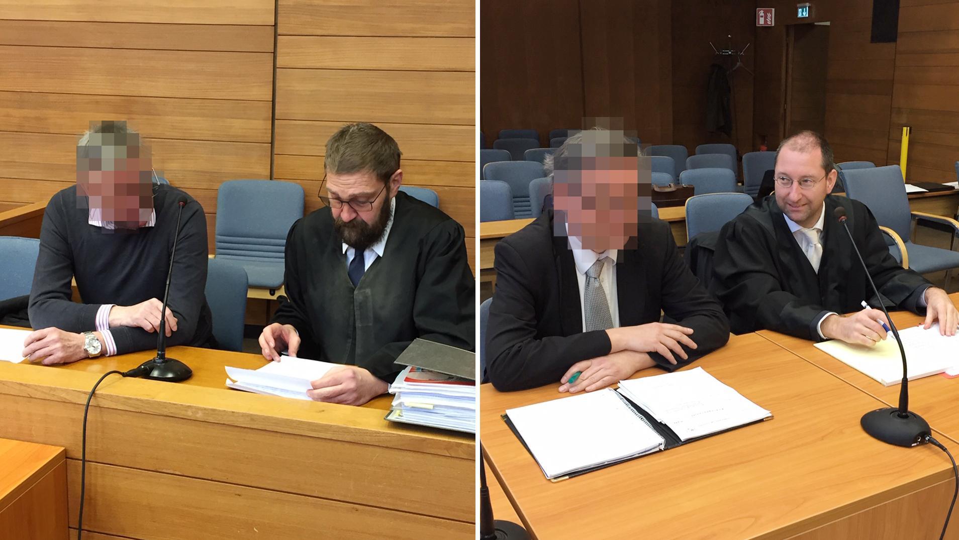 Die Angeklagten und ihre Anwälte (von links)