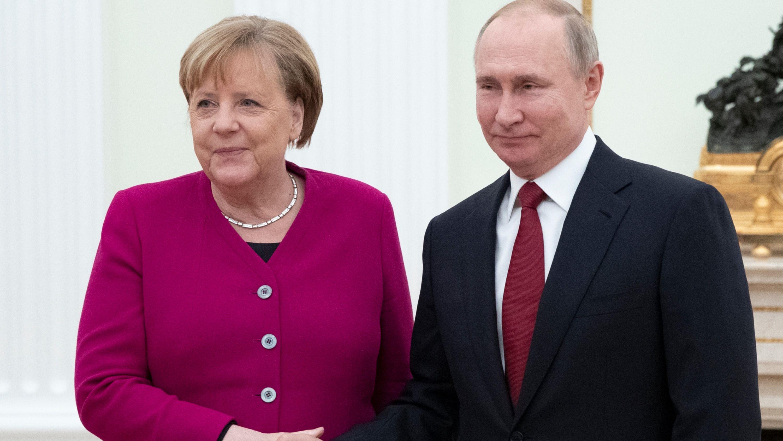 Angela Merkel und Wladimir Putin in Moskau.