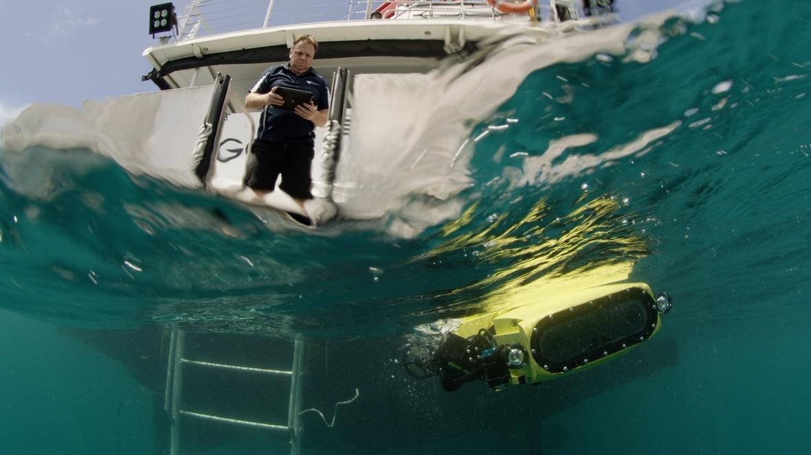 "Der australische Forscher Matthew Dunbabin testet den Tauchroboter ""RangerBot"", der gefräßige Seesterne im Great Barrier Reef töten kann."