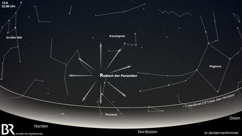 Ab 22.00 Uhr ist es am 12. August dunkel genug, um die Sternschnuppen der Perseiden flitzen zu sehen.