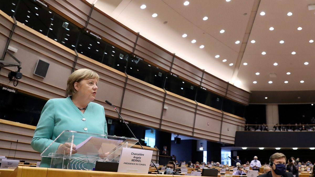Angela Merkel im Europäischen Parlament